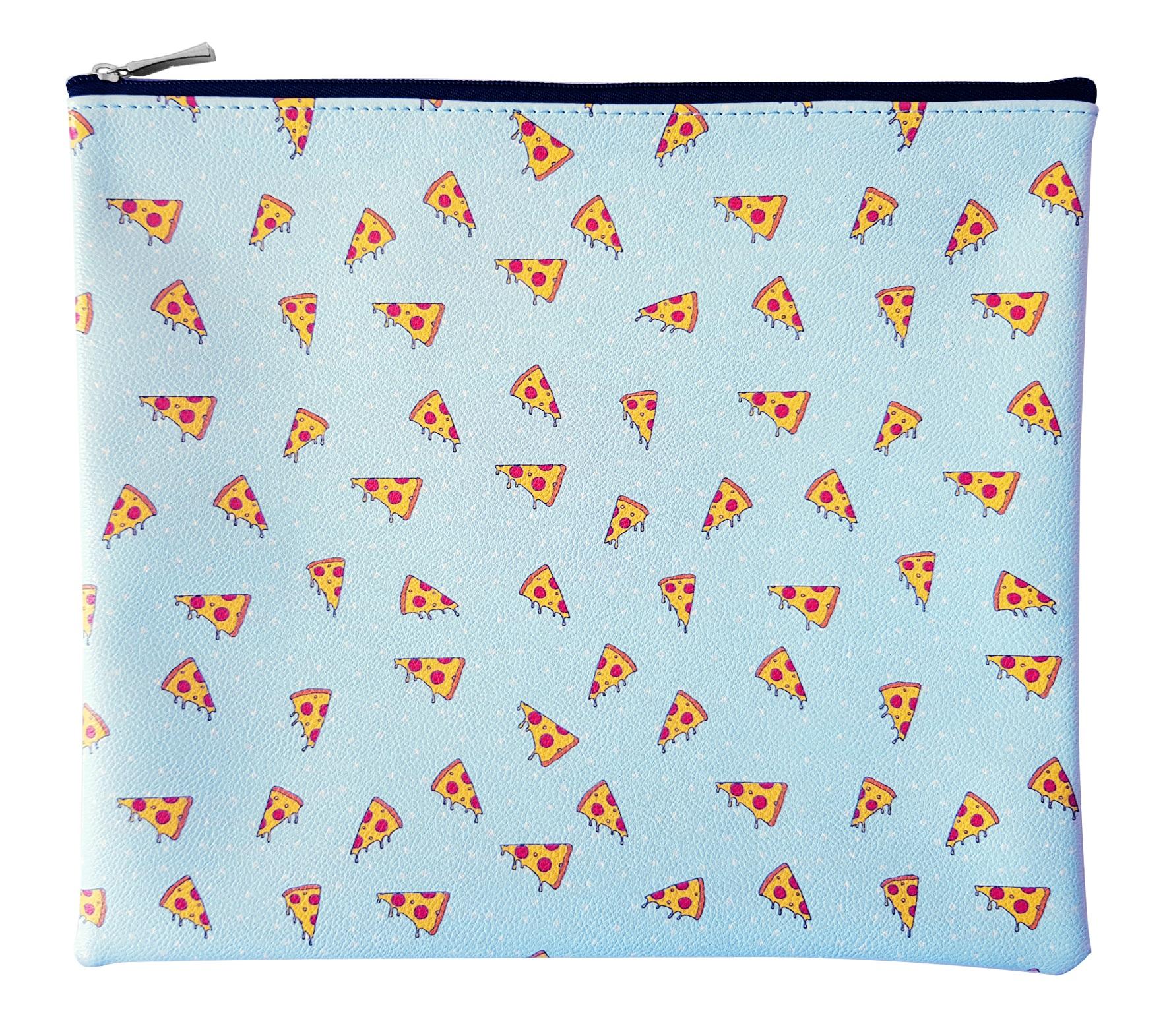 """Папка  для тетрадей """"Eat me"""" пицца,  258х220 мм, искусственная кожа, на молнии"""