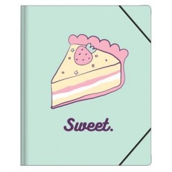 "Папка ""Sweet"" бирюзовый, 170х220 мм, на резинке, картон"