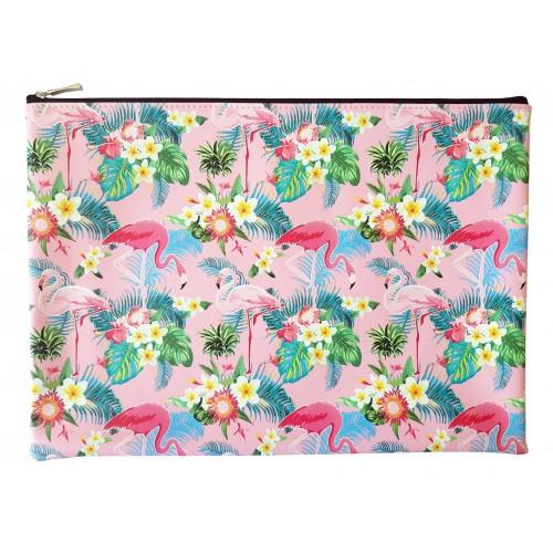 """Папка для тетрадей """"Flamingo"""" 325х230 мм, розовая, иск.кожа , на молнии"""