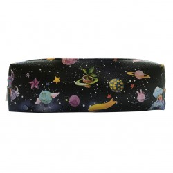 """Пенал-косметичка """"Cosmos""""185*50 мм искусственная кожа, корона,  на молнии"""