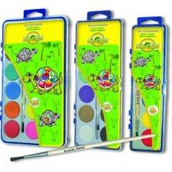 Краски акварельные медовые School Point 18 цветов с кисточкой Черепашка