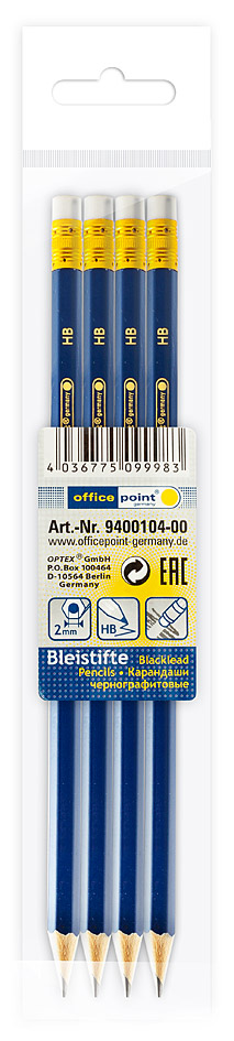 Карандаши Office Point HB 4шт с ластиком